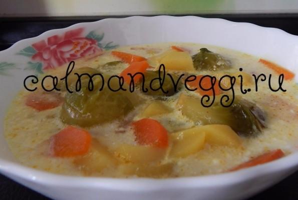 Постный суп с брюссельской капустой