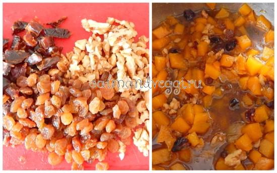 Постный тыквенный кекс с апельсином, орехами и сухофруктами без яиц. Рецепт.