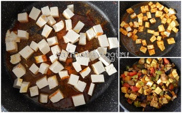 Тушеные овощи с сыром тофу. пошаговый рецепт с фото