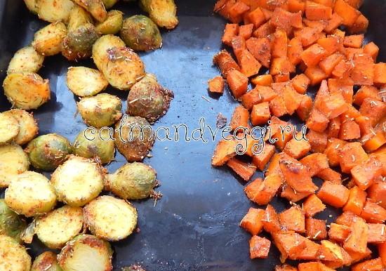 Салат из тыквы и брюссельской капусты с клюквой и семечками рецепт с фото пошаговый
