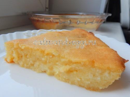 Творожная запеканка без яиц с кукурузной мукой и лимонной цедрой рецепт с фото