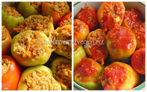 Вегетарианские фаршированные перцы с гречкой. Рецепт.