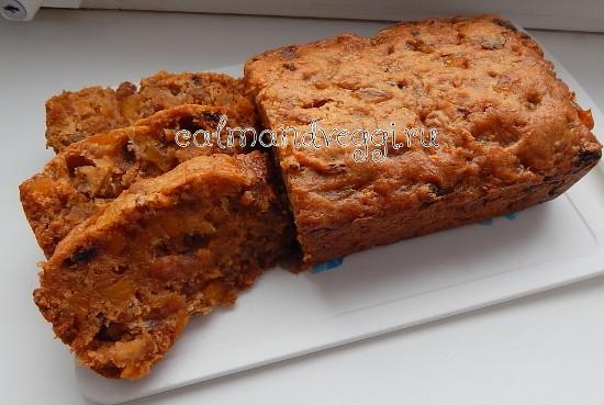 Постный тыквенный кекс с апельсином и сухофруктами