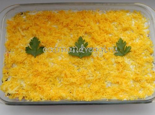 вегетарианский салат мимоза без яиц, пошаговый рецепт с фото