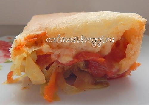 Заливной пирог с капустой на молоке без яиц рецепт с фото