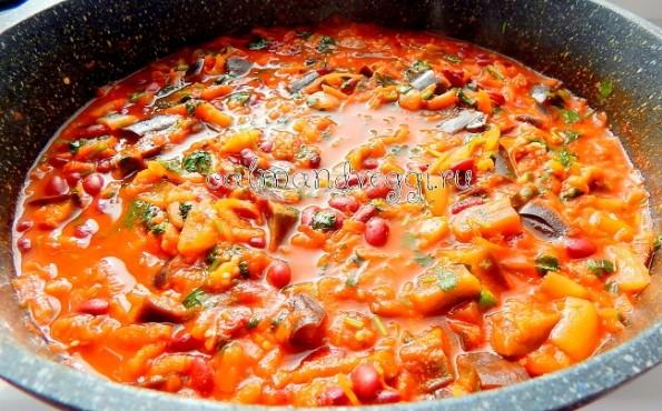 рагу из красной фасоли и овощей