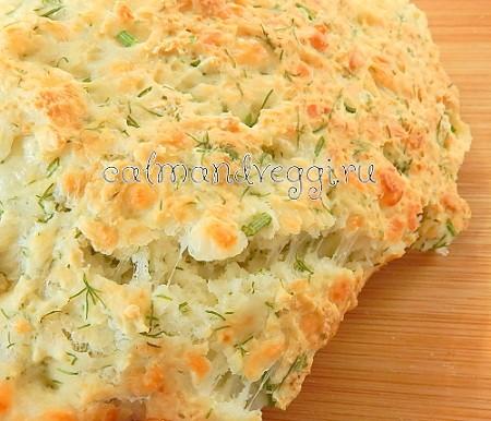 Пышная лепешка с брынзой и зеленью рецепт с фото