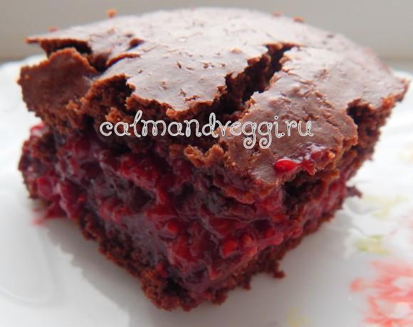 шоколадный пирог с малиной рецепт с фото