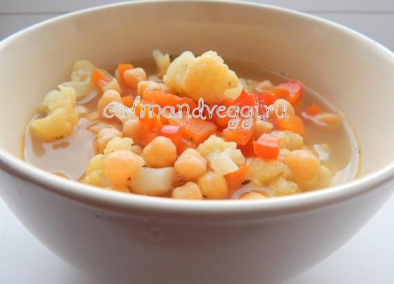 вегетарианский суп из нута и сезонных овощей пошаговый рецепт с фото