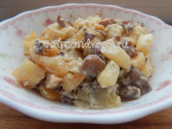 картошка с грибами и сметаной на сковороде рецепт с пошаговыми фото