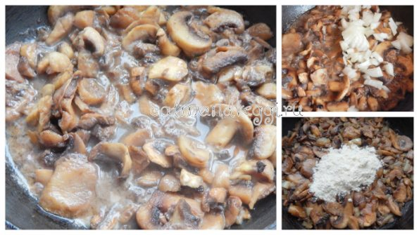 шампиньоны в сливочном соусе на сковороде пошаговый рецепт с фото