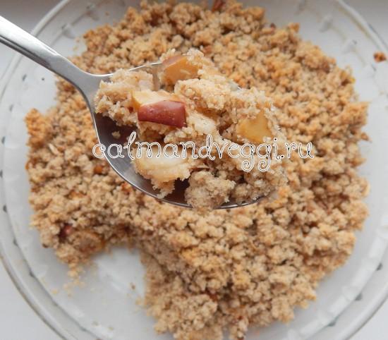 пирог из овсяных хлопьев с яблоками крамбл пошаговый рецепт с фото