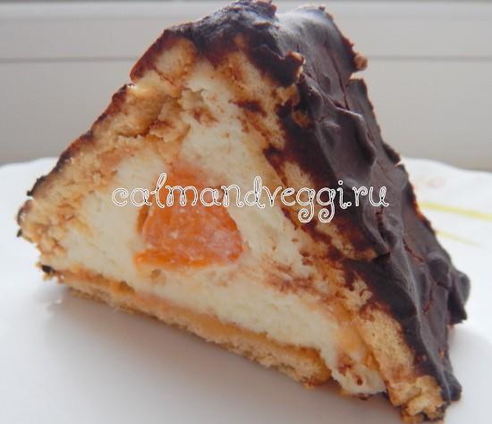 быстрый торт домик из печенья и творога без выпечки рецепт с фото