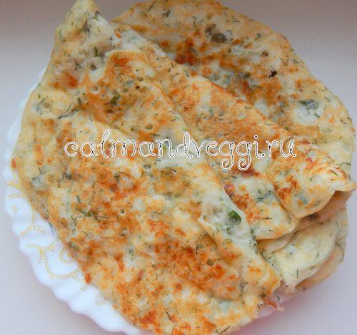 сырные блины с зеленью на кефире, пошаговый рецепт с фото
